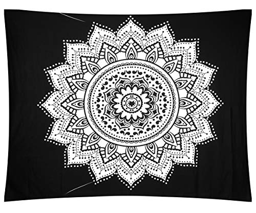 Lewondr Mandala Tapestries, Bohemian Psychedelic Bedspread Picnic Beach Throws Blanket Wall Hanging Home Decor Tapestry, Sunflower, Black & Silver, 59 X 51 inches