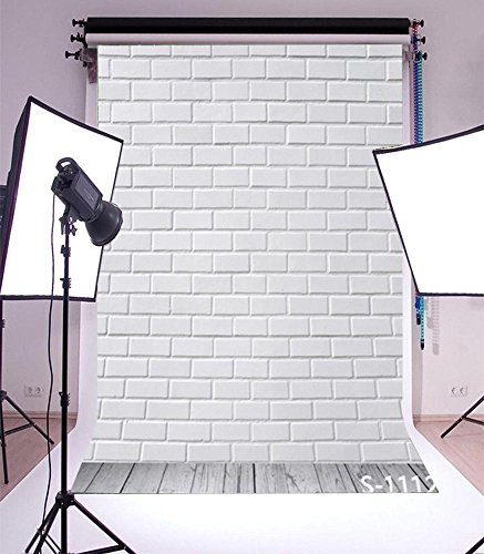 Laeacco Customizable 3x5ft Thin Vinyl Photography Backdrop White Brick Wall and Wood Floor Scene 1*1.5m Computer-Print Seamless Photo Background Studio Props