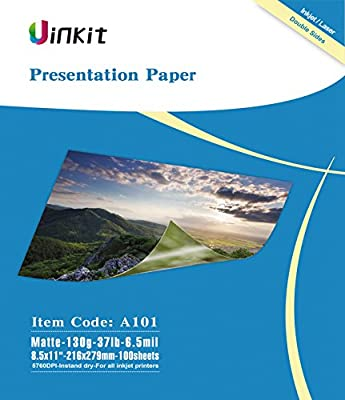Presentation Paper Matte 100 Sheets- Double Side Matt Paper Uinkit 6.5 Mil 130Gsm 8.5x11, 11x13, 13x17 Size For any laser and Inkjet Printer