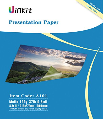 Presentation Paper Matte 8.5x11-100Sheets Uinkit Double Side Matt Paper 6.5 Mil 130Gsm For laser and Inkjet Printer -