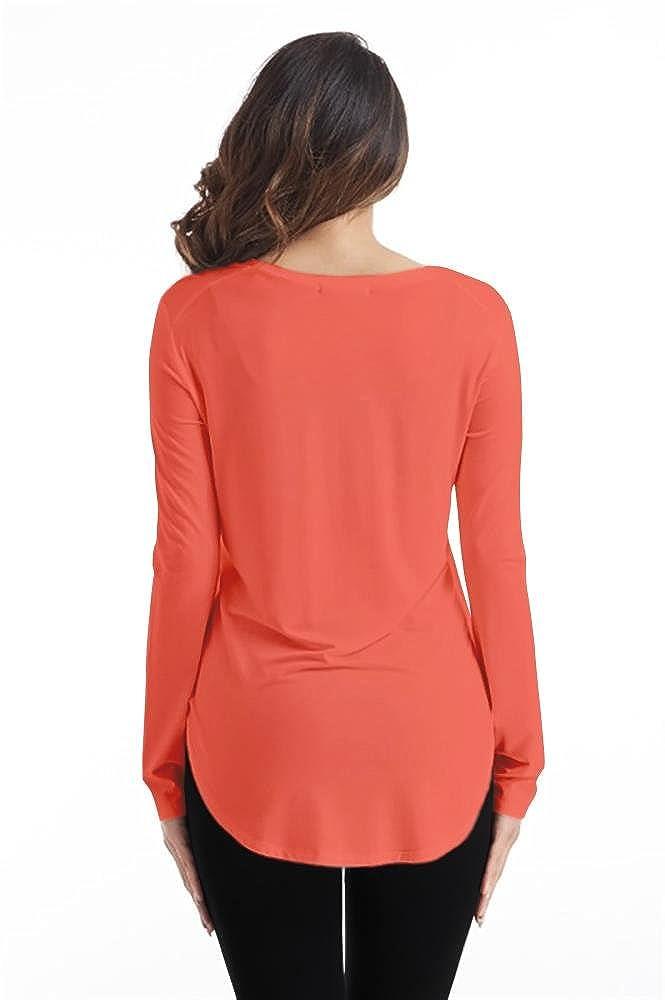 56493560fb5 Simlu Long Sleeve Modal T Shirt Crew Neck, V Neck Tunic Top For Women - USA  at Amazon Women's Clothing store: