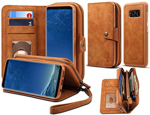 Spaysi, Samsung Galaxy S8 Plus Zipper Wallet Case for Women S8 Plus Detachable Magnetic Wallet Case for Galaxy S8 Plus Card Holder Case Leather Folio Flip Holster Carrying Case for S8 Plus (Brown) by Spaysi