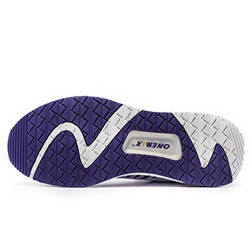 Onemix Scarpe Da Corsa 2017 Scarpe In Mesh Traspirante Comoda Scarpa Da Tennis Uomo Scarpe Da Donna Unisex Viola / Bianco