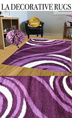 LA DECORATIVE RUGS HUGE BLOWOUT SALE NEW 8x10 White Purple Lavender Lilac Mauve Plum Luxurious Shaggy Shag Fuzzy Flokati Fluffy Furry soft Rug Carpet Area Rug (506 Purple) (Area Rugs Target Purple)