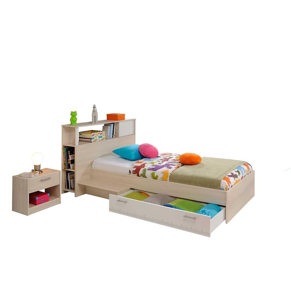 Pharao24 Jugendzimmermöbel Set in Weiß Akazie Schubladenbett