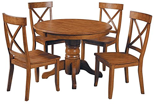 Home Styles 5 Piece Pedestal Dining Set, Cottage Oak