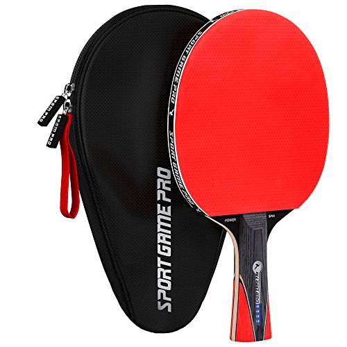 Sport Game Pro Ping Pong Paddle with Killer Spin – Table Tennis Paddle with Comfort Grip 2.0 mm Spunge – Table Tennis Racket Bat with Gift Box (Red)