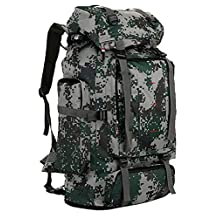 75L Camo Print Mountaineering Backpack Nylon Fabric Outdoor Hiking Camping Sport Bag