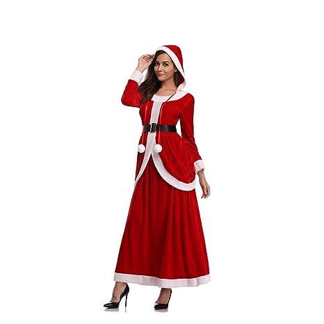 Disfraz de Santa Claus Maxi Vestido de Manga Larga de ...