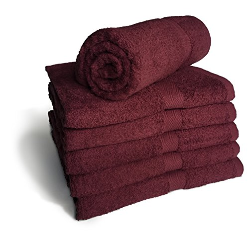 Royal Comfort Burgundy 24x48 Bath Towels by, 9.0 Lbs per dz, Combed Cotton. Sold as 6 towels per pack.