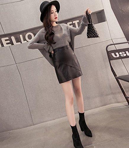 cb5d54223 Amazon.com: 2018 new Korean word skirt package hip skirt PU leather ...