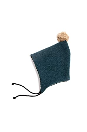 241060ce51e Monkind Baby Boys Girls Bonnet 100% Organic Cotton Green with Brown Pompom  (3-