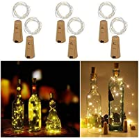Wine Bottles String Lights with Cork, 6 Pack 20 LED Waterproof Copper Wire Battery Operated Starry Lights for DIY Home Decorative Christmas Halloween Wedding Party Indoor Outdoor (Warm White)