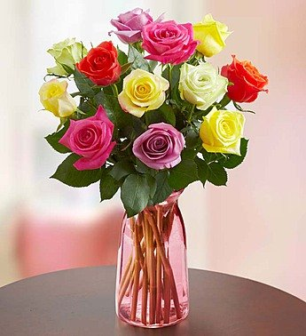 One Dozen Assorted Roses with Pink Vase by 1-800 Flowers