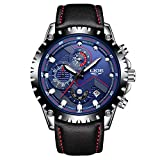 Affute Fashion Chronograph Analog Quartz Mens Wrist Watches Waterproof Date Leather Band,Black Blue