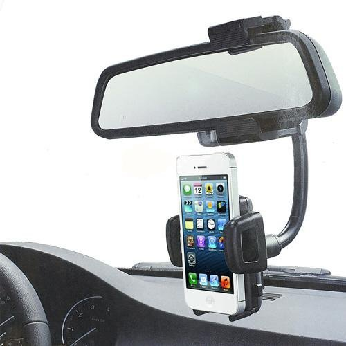 Rerii Cell Phone Rear View Car Mount Holder, Work with iPhone 6 6 Plus, iPhone 5 5S 5C, iPhone 4 4S, Samsung Galaxy, HTC, Sony and other Cell Phones (Black)