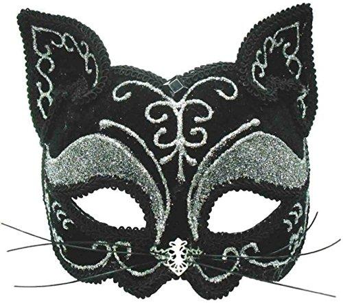 Bristol Novelty EM365 Cat Decorative Eye Mask on Headband, Black, One -