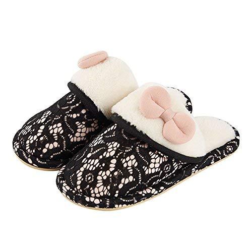 Color : Black, Size : 3 Tuersuer Multi-Purpose Male Slippers Female Slippers Cotton Slippers Female Winter Indoor Cute Non-Slip Thick Bottom Home Waterproof Warm Soft Bottom Couple Plush Shoes