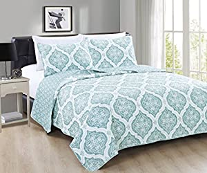 Arabesque Collection 3-Piece Luxury Quilt Set with Shams. Soft All-Season Microfiber Bedspread and Coverlet with Unique Pattern. By Home Fashion Designs Brand. (Full/Queen, Mineral Blue)