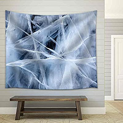 Texture of Ice of Baikal Lake in Siberia Fabric Wall, Created Just For You, Alluring Artisanship