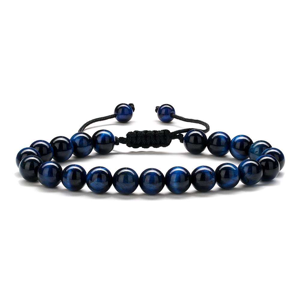 M MOOHAM Bead Bracelet Gifts for Men - Natural Blue Tiger Eye Stone Womens Anxiety Bracelets, Stress Relief Yoga Beads Adjustable Healing Bracelet Bridal Shower Gifts Wedding Gifts