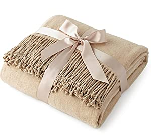 Luxury Pure 100% Mulberry Silk Throw, Genuine Natural 100% Silk Oversized Super Soft Plush Blanket in Ivory or Beige from Soft Throw