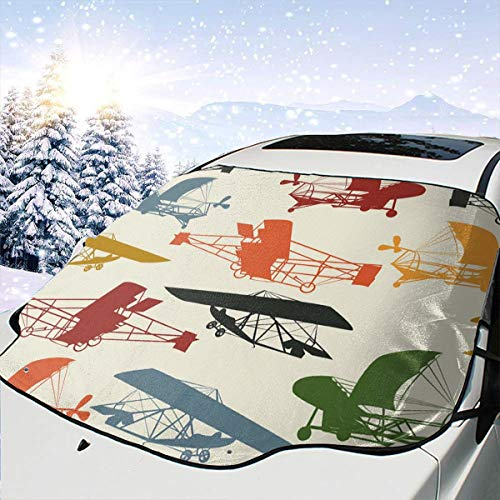 TARDIGA Car Front Windshield Ice Cover Free Vintage Airplane Clipart Car Window Sun Shade UV Protect Reflector for Car Sedans Truck SUV