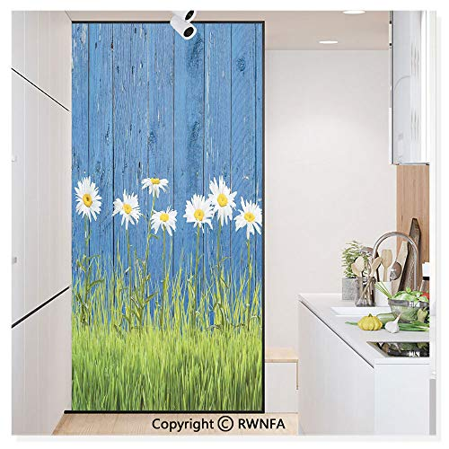 - Decorative Privacy Window Film Fresh Spring Grass and Daisy on a Fence Summer Simple Vintage Style Print Decor No-Glue Self Static Cling for Home Bedroom Bathroom Kitchen Office,Blue Green White