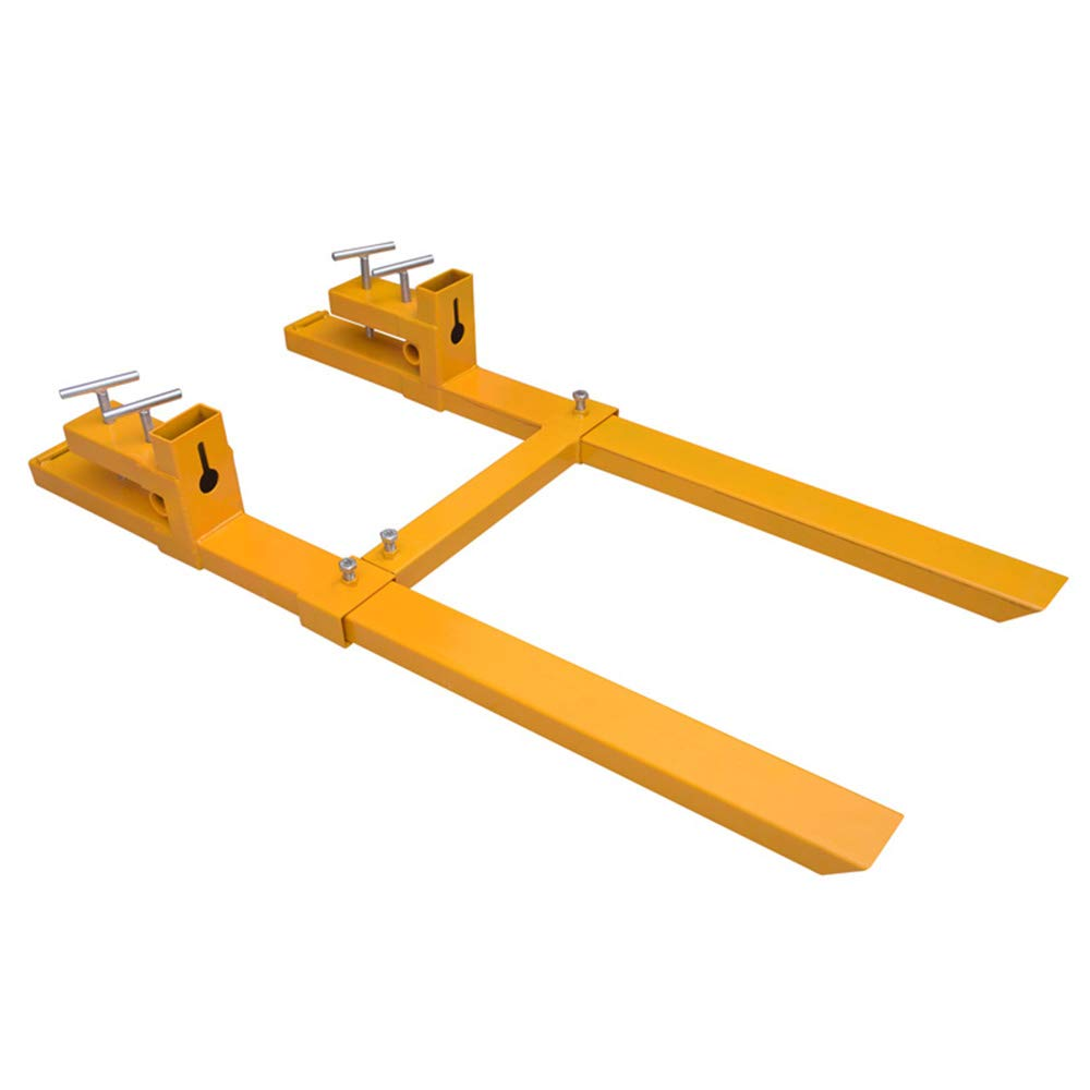 Wifond 43'' Clamp on Pallet Forks Loader 3500lbs Capacity w/Stabilizer Bar Heavy Duty High Tensile Steel Stable and Firm for Bucket Tractor Skid Steer by Wifond