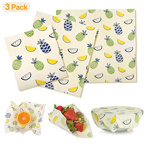 REDTRON Beeswax Wrap 3 Pack, Zero Waste Reusable Food Wraps, Sustainable Plastic Free Food Storage & Lunch Pack for Sandwich, Cheese, Fruit, Vegetable and Bread-1 Small, 1 Medium, 1 Large ()