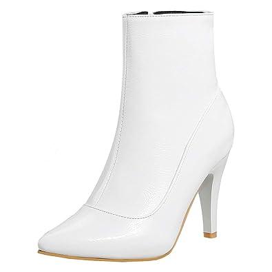 6e41a0e52038 YE Chaussures Elegantes Ankle Boots Bottes Sexy Courtes Chaude Bottines en  Cuir Femme Hiver Bout Pointu