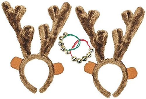 happy deals Set of 2 Plush Christmas Reindeer Antlers - with Free Jingle Bell Bracelets]()