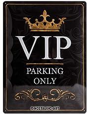 Nostalgic-Art Retro Tin Achtung – 'VIP Parking Only' – znak ostrzegawczy jako pomysł na prezent, metalowa plakietka, 30 x 40 cm