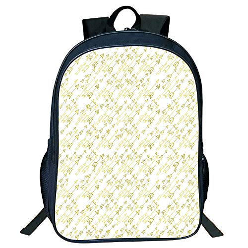 Print Black Double-Deck Rucksack,Arrow Decor,Hand Drawn Soft Pale