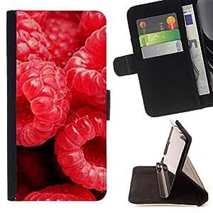 - Fruit Macro Raspberry Shot - - Monedero PU titular de la tarjeta de cr????dito de cuero cubierta de la caja de la bolsa FOR Sony Xperia M2 RetroCandy