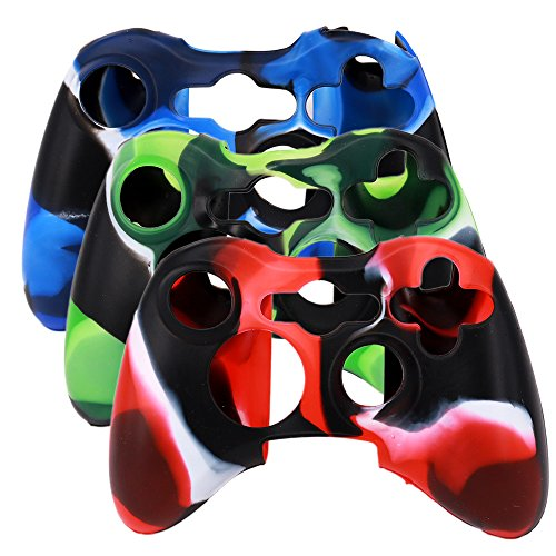 SunAngel New Silicone Cover Case Skin for Xbox 360 Controller Camo (3 Colors Package)