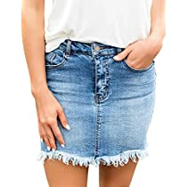 028e05797b35 luvamia Women's Casual Mid Waisted Washed Raw Hem Pockets Denim Jean Short  Skirt Blue Size Medium