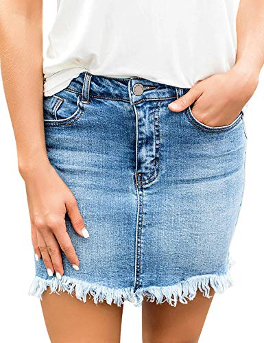 luvamia Women's Casual Mid Waisted Washed Fringed Pockets Denim Jean Short Skirt Blue Size Large