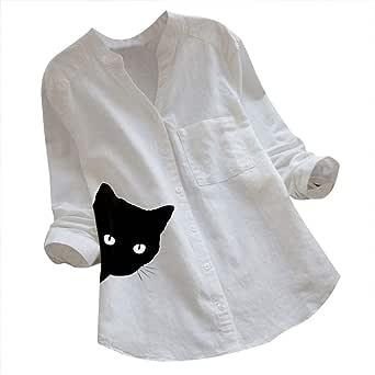 Camisas Mujer Algodón y Lino Casual Gato Impreso Camiseta ...