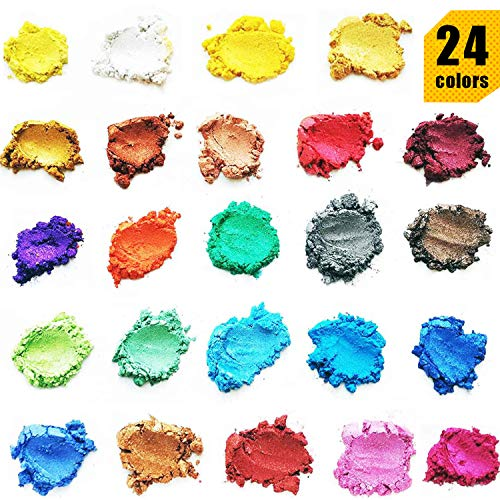 Epoxy Resin Color Pigment - 24 Color Mica Powder Epoxy Resin Dye, Cosmetic Grade Soap Colorant for Soap Making Supplies, Natural Slime Coloring Soap Dye for Paint,Nail Art,Bath Bomb (0.1 oz Each Bag)