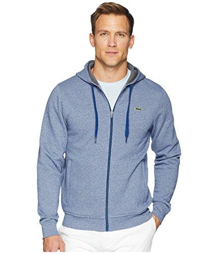 Lacoste Men's Full Zip Hoodie Fleece Sweatshirt, SH7609, Marino Jaspe/Pitch, L