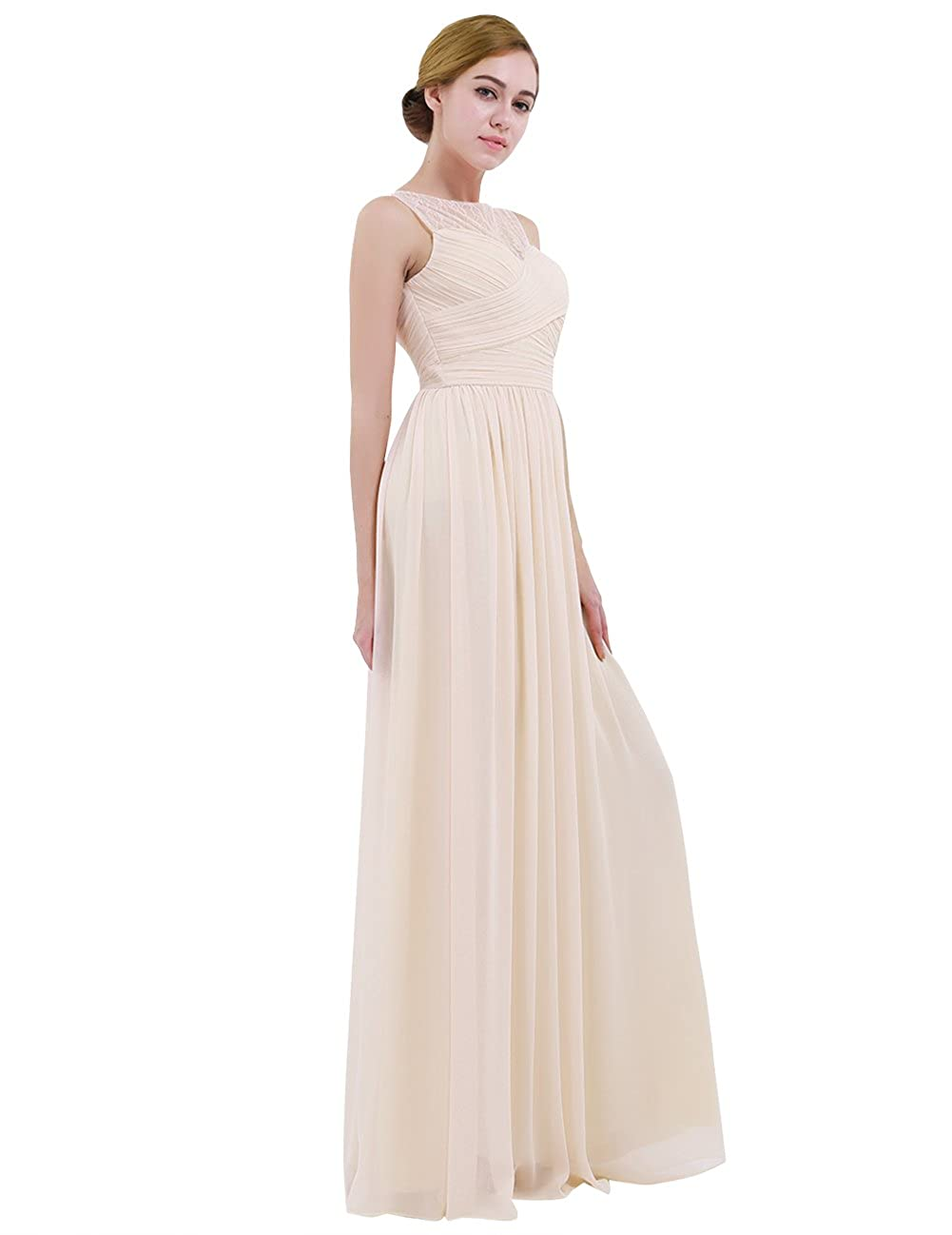 e4a33392de7640 iEFiEL Women Lace Illusion Cross Pleats Bridesmaid Dress Long Evening Prom  Gown at Amazon Women s Clothing store
