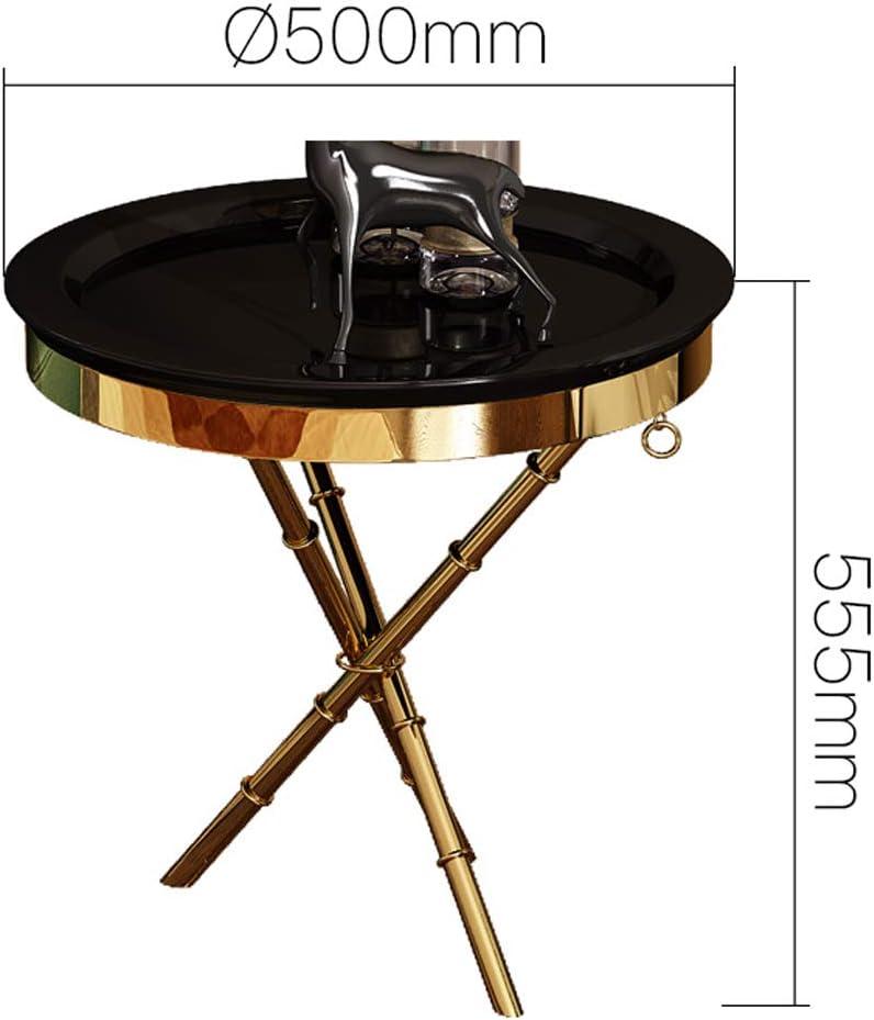 Table Basse de Coin, Table de Bout Table de côté/café/Snack/Table de Stockage avec roulettes pour la Maison, Le Salon et Le Bureau - Noir, Blanc Black