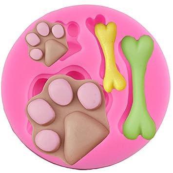 Hosaire Molde de Silicona de Pastel Molde de Fondant DIY Decoración de Repostería Pastel Cookie (Pies de mascotas y los huesos): Amazon.es: Hogar