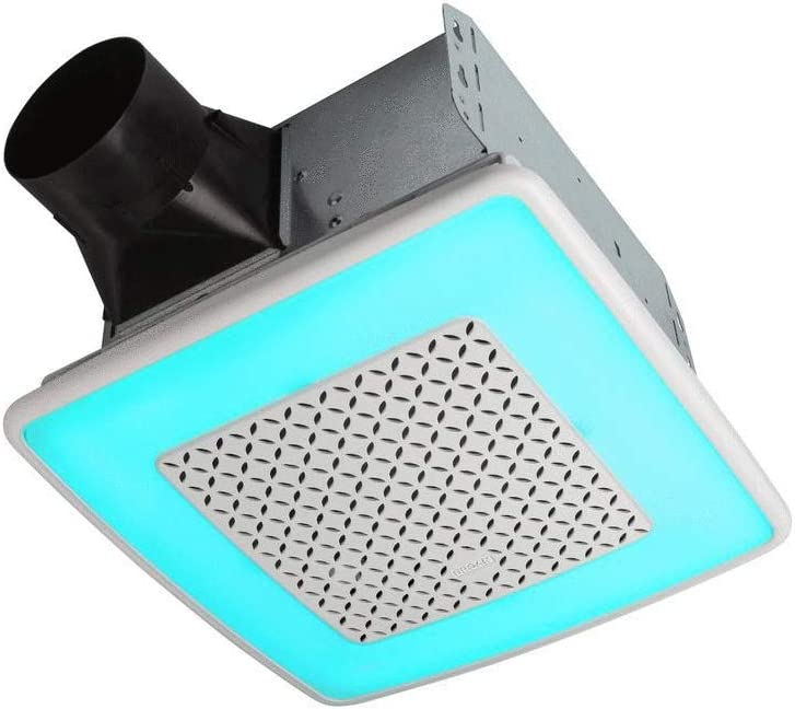 Broan-NuTone AER110RGBL ChromaComfort 110 CFM Ventilation Fan with 24 Color Selectable LED, 1.5 Sones, ENERGY STAR Certified