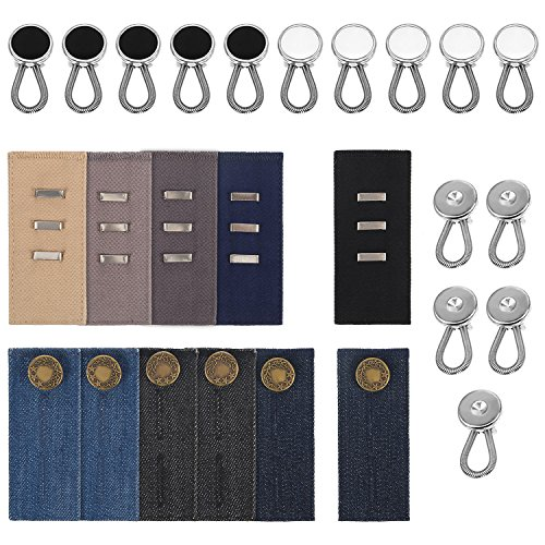 26 Pieces Waistband Extender Set Pants Waist Extenders and Buttons Extenders for Dress Pants, Jeans and Skirts