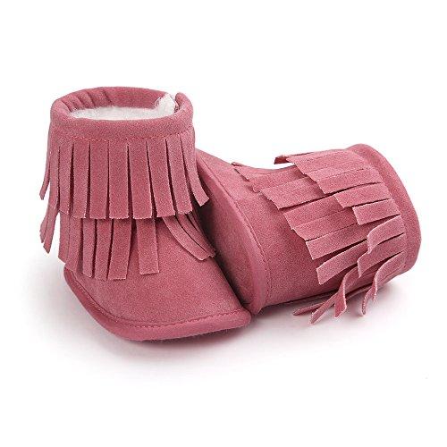 Bebé Niños Niñas Suave Suela botas de borla rosa rosa Talla:6-12 meses Rosa