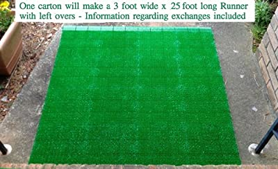 The Magic Green Carpet 76 Pack is a World Class Entrance Carpet Open Astro Turf system. Will cover 76 Sq Ft of area, 12 foot of front edging and 12 feet of back edging. Good for Outdoor or Indoor Topping for all Hard Surfaces. Includes information on