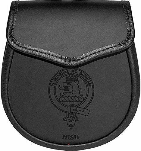 Nish Leather Day Sporran Scottish Clan Crest