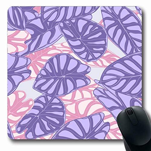 (Ahawoso Mousepads for Computers Painting Watercolor Botanical Jungle Pattern Purple Color Araceae Botany Exotic Flora Florist Foliage Oblong Shape 7.9 x 9.5 Inches Non-Slip Oblong Gaming Mouse Pad)